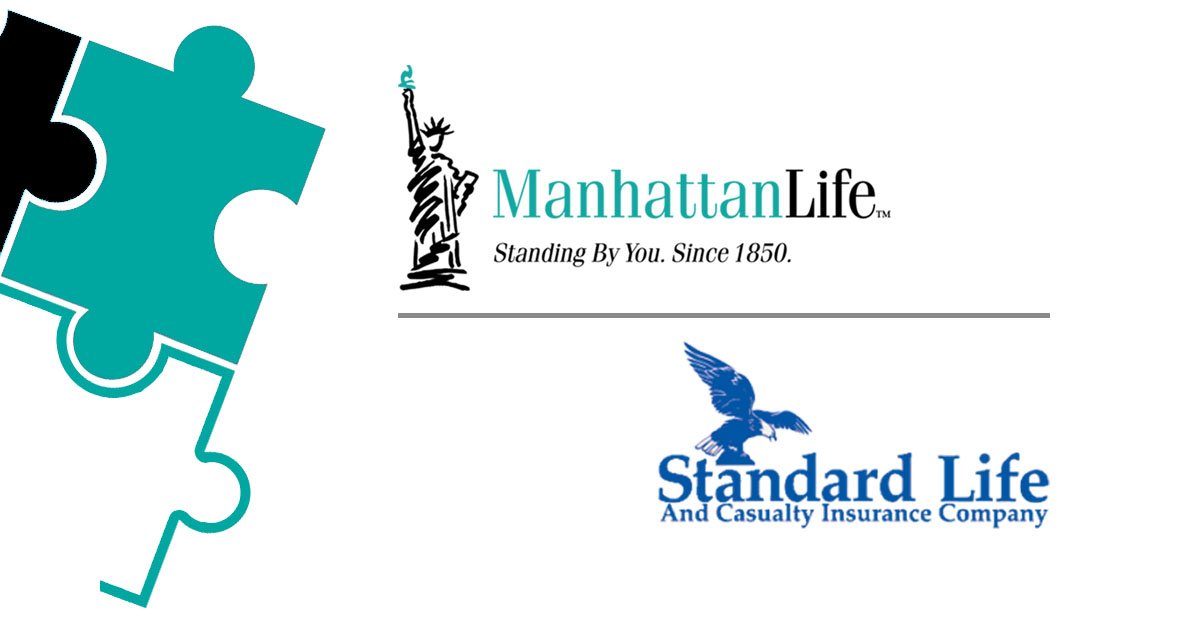 manhattanlife and standard life and casualty insurance company logos by puzzle pieces