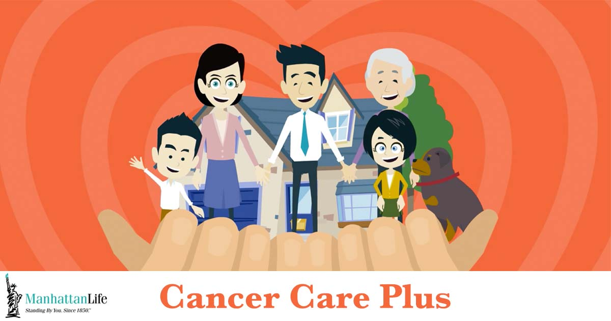 happy cartoon family cancer insurance policy