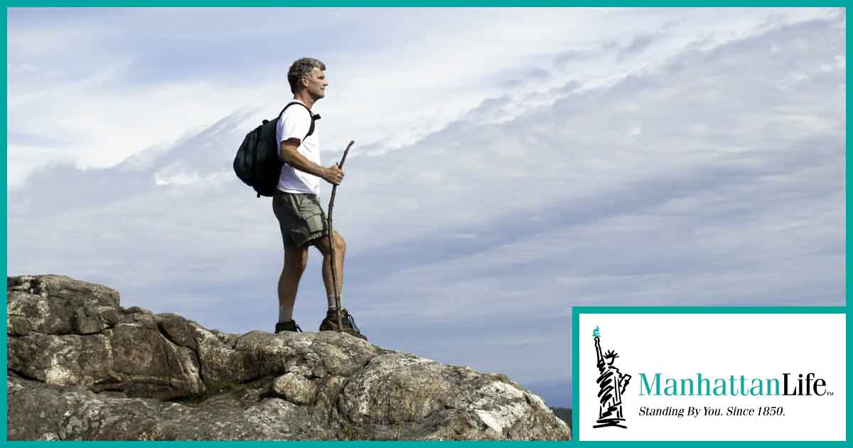 hiker holding a stick on top of a mountain